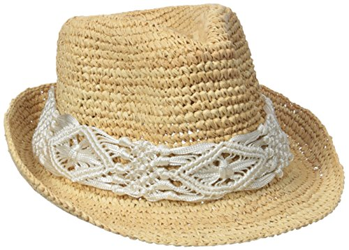 Raffia Fedora Hat (Physician Endorsed Women's Malia Crochet Raffia Sun Hat With Macrame Trim, Rated UPF 30 For Sun Protection, White, Adjustable Head Size)