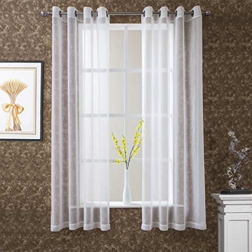 DWCN White Sheer Curtains for Living Room Dining Room Linen Look Voile Drapes Grommet Top Window Curtain Panel 52 x 63 Inch Long ,Set of 2 Panels