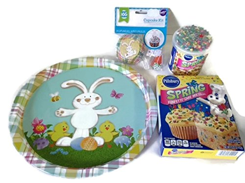 Easter Cupcake Baking Bundle Set- Large Round Tin Plate -Spring Funfetti Cake Mix- Frosting With Sprinkles- 24 Cupcake Cups With Rabbit and Carrot Toppings