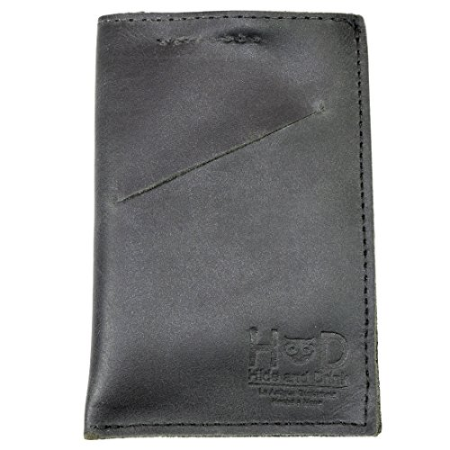 Hide & Drink Soft Leather Wallet & Card Sleeve Handmade Charcoal Black