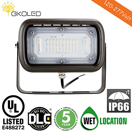 GKOLED 30W LED Floodlight, Outdoor Security Fixture, Waterproof, 100W PSMH Replace, 3000 Lumens, 5000K Daylight White, 70CRI, Yoke Trunnion Mount, UL-Listed & DLC-Qualified, 5 Years Warranty