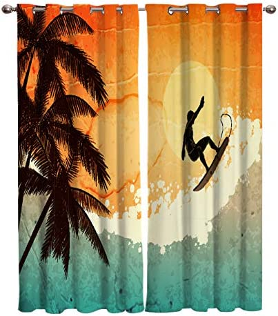 FortuneHouse8 Blackout Curtains Thermal Insulated Tropical Palm Tree Sea Surfing Surfboard Room Drapes Window Curtain