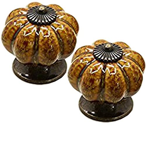 FirstDecor 2pcs Country Style Baby Kid's Children's Furniture Drawer Handles Decorative Pumpkin Ceramic Door Cabinet Drawer Knobs Pull Handles Creative Cupboard Handle Pull Knobs with Screws