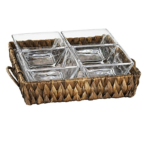 Artland 60217 Garden Terrace 4-Section Server (1 Square Tray + 4 Glass Bowls), Small, Four