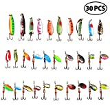 LotFancy 30PCS Metal Fishing Lures Treble Hooks Assorted Inline Spinner Baits & Spoons Bass Salmon Trout Freshwater