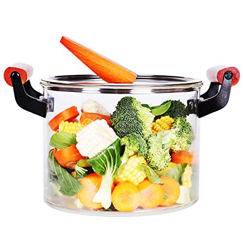 5L Glass Saucepan with Cover, Heat Resistant Glass Pots and Pans Set, Glass Cookware for Stovetop, Oven, Refrigerator, Dishwasher and Microwave Safe, Best for Milk, Soup, Noodles Pot
