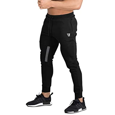 92f6d3fac EK Mens Stripe Gym Jogger Pants Fitness Workout Slim fit Sweatpants Causal  Pocket Leg Zipper (