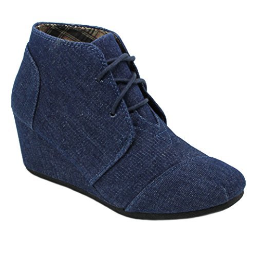 Booties Wedge Boots Heels Toe Women's Lace Denim Suede Ankle Round Up IwqxaxzR