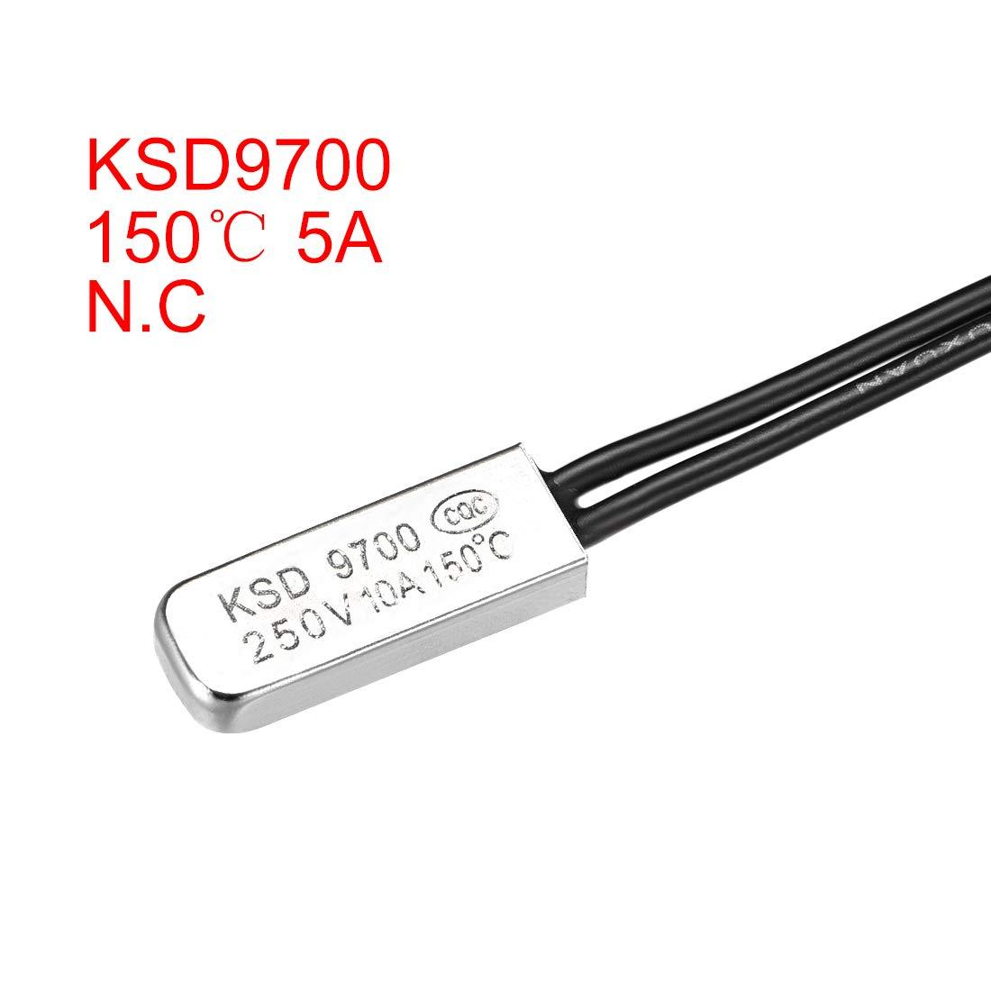 sourcing map KSD9700 Termostato 45℃ N.C 10A Interruptor de metal bimet/álico de control de temperatura 2uds