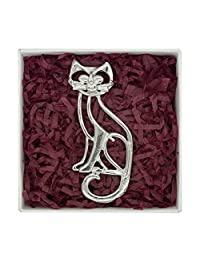 Fine Pewter Open Cat Brooch Handcast By William Sturt