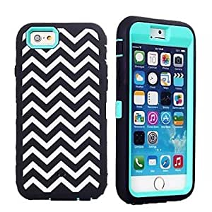 ZL White Waves Pattern Heavy Duty Shockproof 3 Layer Hybrid Hard Back Cover for iPhone 6(Assorted Colors) , Blue