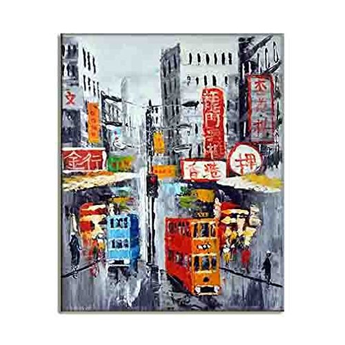 Amazing City Of Hong Kong Street Painting Asian Style HD Art Picture Quality Modern Wall Hangings Canvas Prints Classy Home Decor (A) 50x70cm / 20x28inch