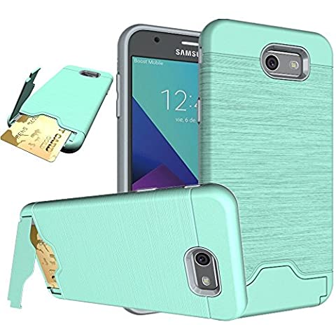 Galaxy J7 Case, GPROVA [Card Slot Fit 2 Cards] [Kickstand] Shockproof Slim Fit Dual Layer Protection Card Slot Holder Hybrid Cover case for Galaxy J7 V / Galaxy J7 2017 /Galaxy J7 Sky Pro (Galaxy Speck 5s Case)
