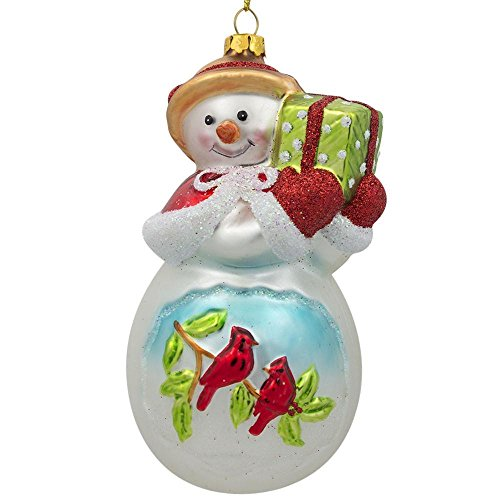 (BestPysanky Snowman with Red Cardinals Holding a Gift Glass Christmas Ornament 5 Inches)