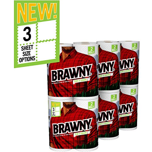 Brawny Tear-A-Square Paper Towels, 12 Rolls, 12 = 24 Regular Rolls, 3 Sheet Size Options, Quarter Size Sheets
