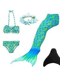 WANLIAN Mermaid Tail Swimsuit Bikini for Girls Swimming and Fins Garland 5Pcs