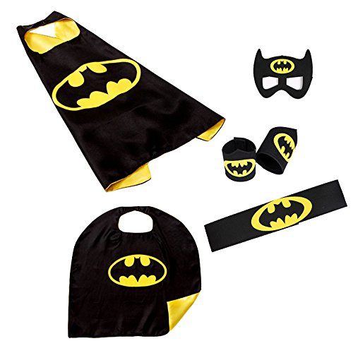 2 Pack Cloak, Toddler Kids Halloween Birthday Costume Cape, Superhero Batman Mask/Waistband/Wrist Set Cloak