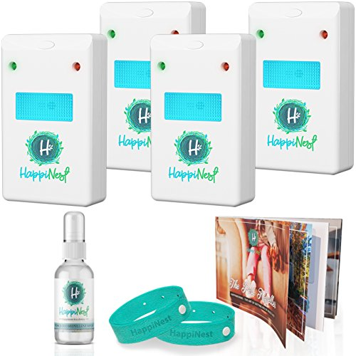 HAPPINEST Ultrasonic Pest Repeller | Mice Repellent | Pest Control for Rodents, Roaches, Bugs, Spiders, Ants, Mice, Fleas