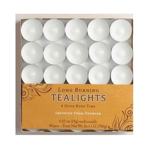 White Tealight Candles 50 Pack 6 Hour Long - Tea Candles Long Lasting