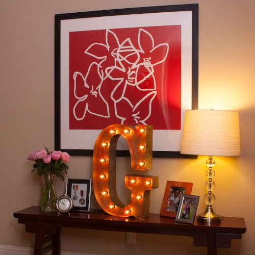 Vintage Marquee Letter G with Lights 24 Inches Tall