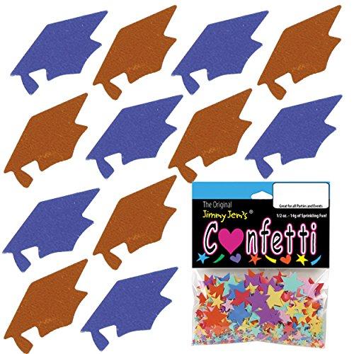 Confetti Grad Cap Blue Royal, Orange Combo - 2 Half Oz Pouches (1 oz) FREE SHIPPING --- -