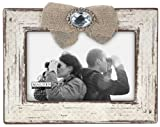 Malden International Designs Treasured Memories Findingd Burlap Bow Distressed Washed Wood Picture Frame, 4x6, White