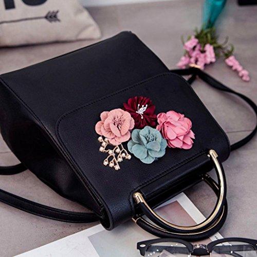 Shoulder Black Backpacks Bag Black Women SOMESUN Fashion Leather Floral Decal Lnclined Bag Shoulder Bags Fashion Backpack zw1qxB6H