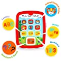 VATOS Baby Toy Educational Toy, Baby Tablet Toys for Infant 6M -12M -18M+ with Music & Light, Learning Games, Easy ABC, Numbers & Color Learning | Gifts for Baby's First Birthday