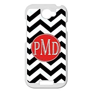 Black & White Classic Zigzag Chevron Noble Red Monogram Fashion Custom Luxury Cover Case With Plastic For HTC One S