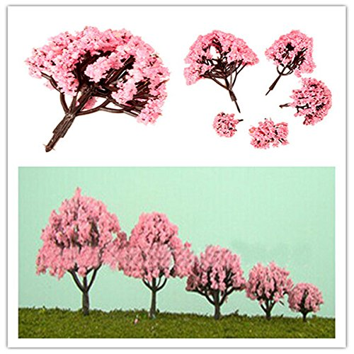 Garden Landscaping & Decking - 5 Size Cherry Trees Fairy Garden Ornament Pot Decor - Tree Diagram Interior Decoration Ruddy Cherry-Red Red Blood-Red Chromatic Cerise Reddish Colored - (Blossom Display Clock)