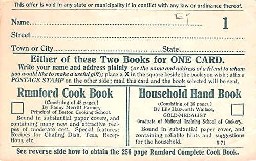 Publications Advertising Old Vintage Antique Post Card Household Hand Book Unused