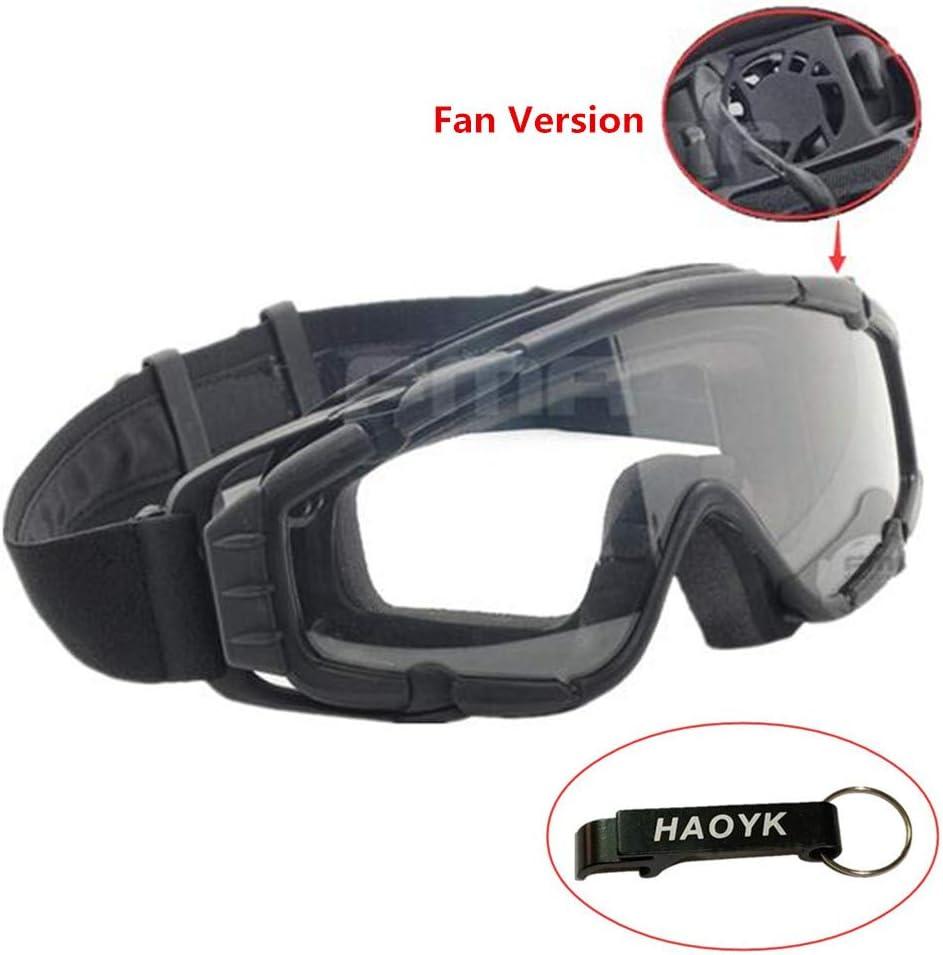HaoYK Masque avec ventilateur pour ski, airsoft, moto, snowboard - Noir