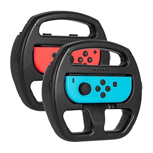 Keten Nintendo Joy-Con Steering Wheel (Set of 2) for Switch Mario Kart Game-Black by Keten