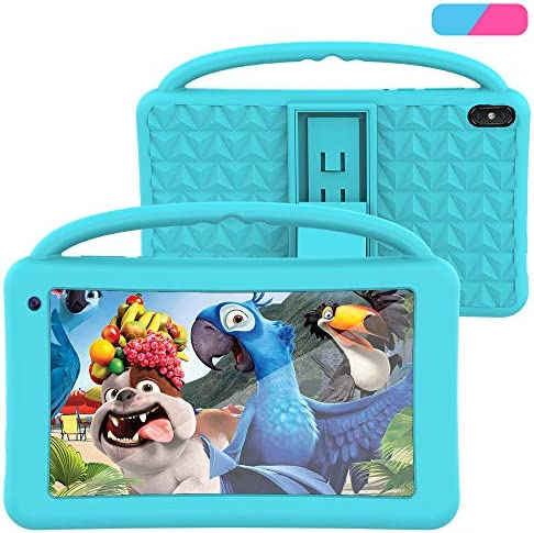 Kids Tablet 7 Inch IPS HD Display QuadCore Android 10.0 Pie Tablet PC for Kids - GMS Certificated Dual Cameras 2GB RAM 32GB ROM WiFi with Handheld Kids-Proof Silicon Case for Kids Educational (Blue)
