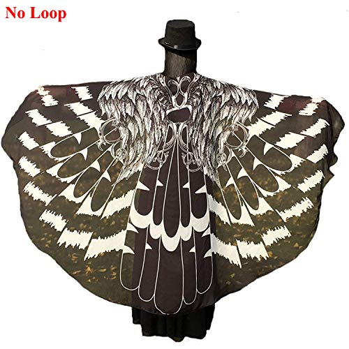 Shireake Baby Halloween/Party Prop Soft Fabric Butterfly Wings Shawl Fairy Ladies Nymph Pixie Costume Accessory ... (197 x 130CM, Black Eagle) -