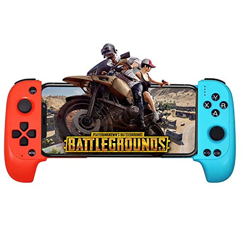 ElementDigital Mobile Game Controller, Telescopic Wireless Bluetooth Controller Gamepad for Android Phone, with Flexible Joystick, Red+Blue