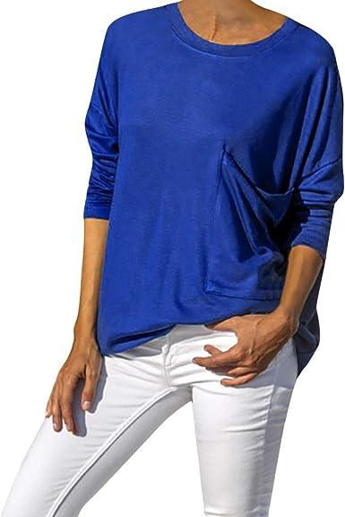 OPAKY Camisas Mujer Manga Larga de Cuello Redondo Casual Blusas Tops del Camisetas Mujer Casual Sólido Manga Larga O-Cuello Bolsillo Grande Camiseta Suelta Blusa Tops: Amazon.es: Ropa y accesorios