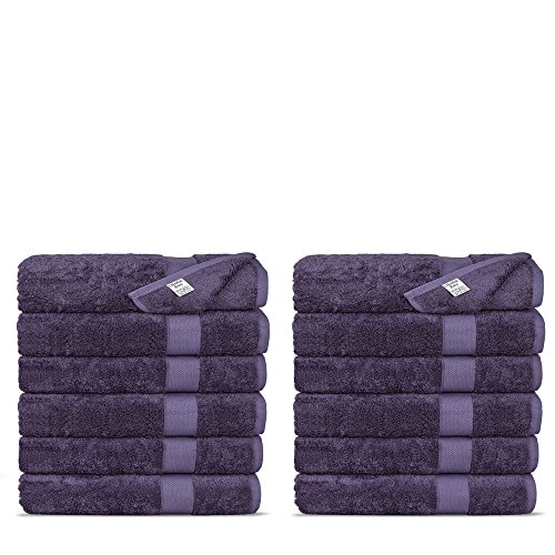 Chakir Turkish Linens Luxury Ultra Soft Bamboo 12-Piece Washcloths - Soft, Absorbent and Eco-Friendly (Plum)