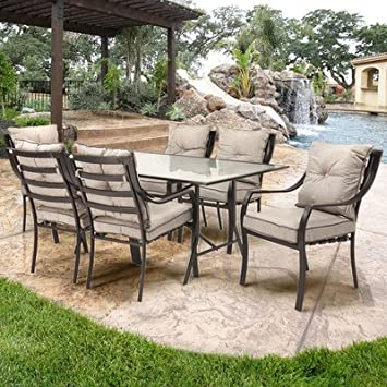 Patio Furniture/ Dining Set With Cushions Polyester (7 Piece) Synthetic  Fiber Anderson Weather