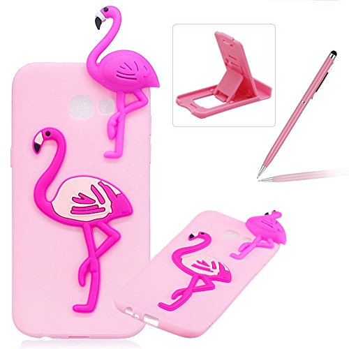 TPU Case for Galaxy A720 2017,Soft Rubber Cover for Galaxy A720 2017,Herzzer Ultra Slim Stylish 3D Flamingo Series Design Scratch Resistant Shock Absorbing Flexible Silicone Back Case - A720 Series