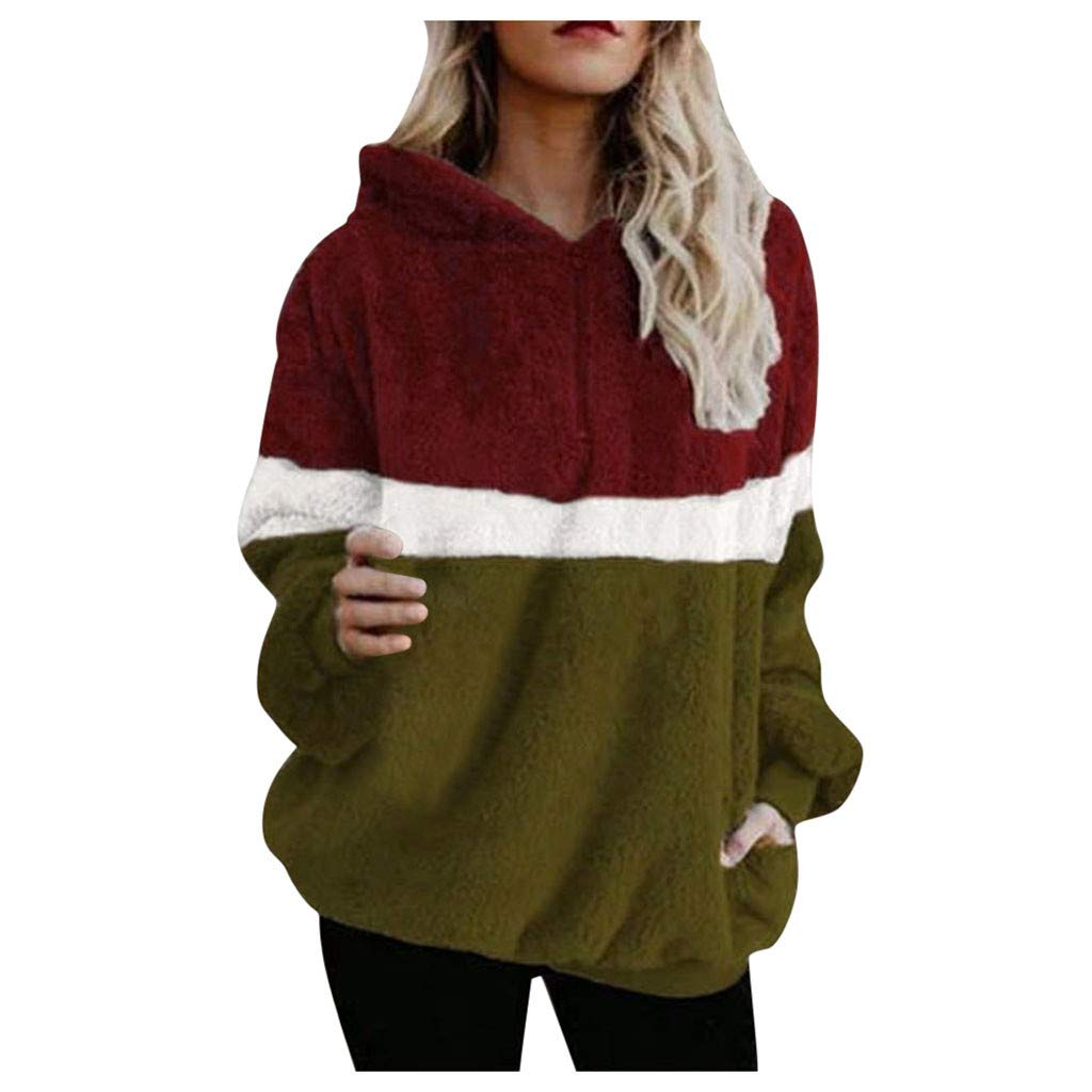 TozuoyouZ Women Hoodie Oversized Warm Fuzzy Pullover Sweatshirt Casual Loose Pullover Splice Outwear with Pockets (Army Green,XL) by TozuoyouZ