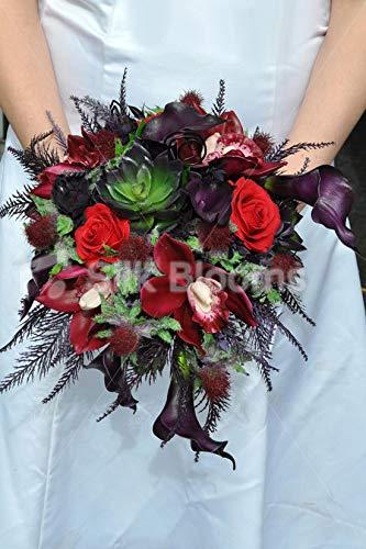 Bouquet Da Sposa Orchidee.Silk Blooms Ltd Bouquet Da Sposa Con Calle Viola Scuro E