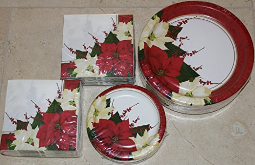 Christmas Paper Plates - Pretty Red & Yellow Poinsettia Dinner and Napkin Party Pack - Serves 55 - Includes 55 (10.25