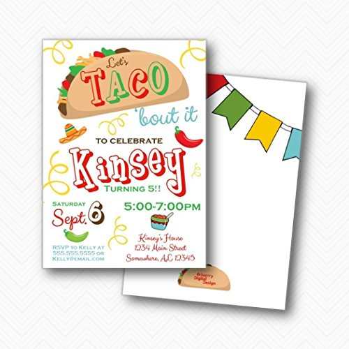 Let's Taco 'bout it Fiesta Birthday Party Invitations | Envelopes included