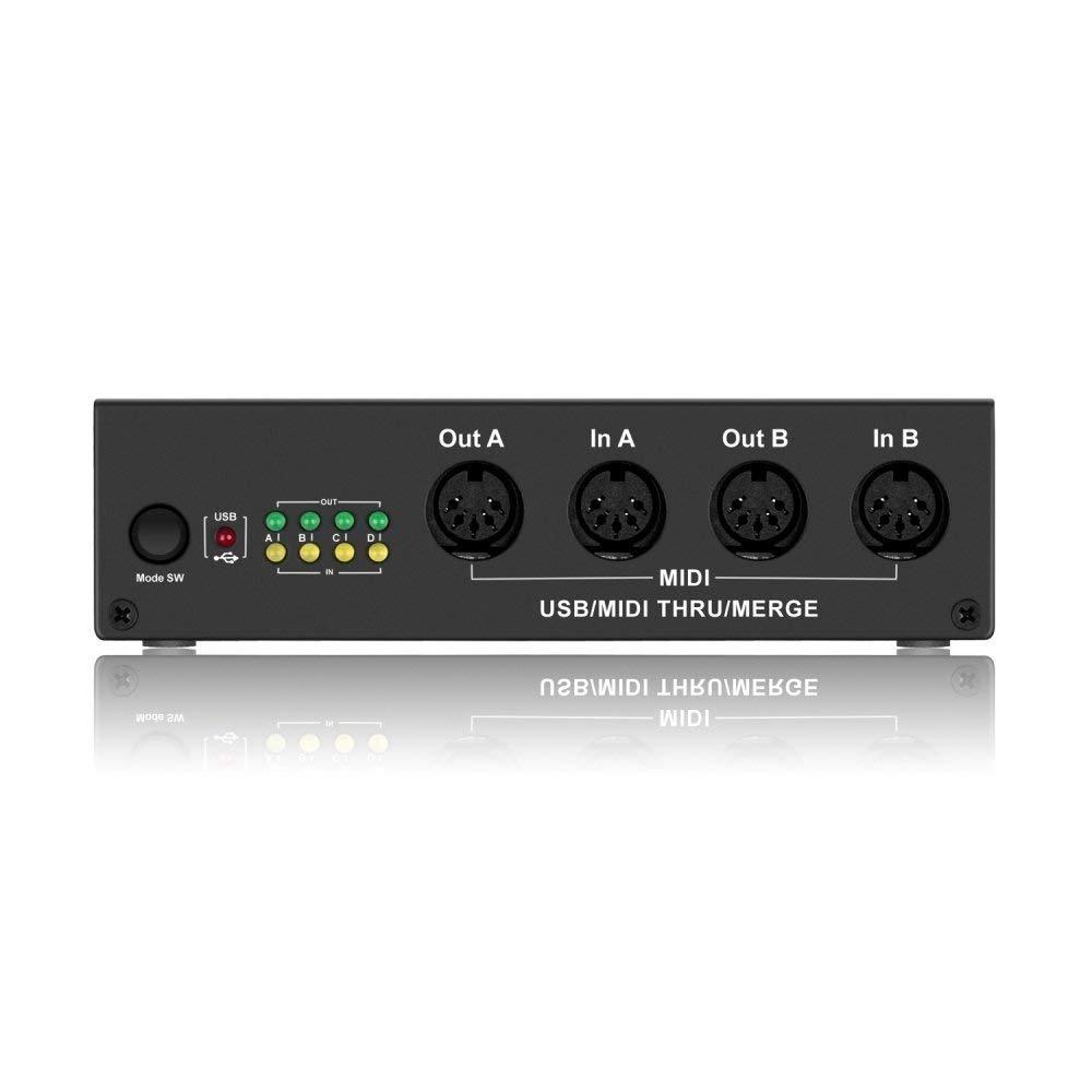 DriverGenius 4X4 USB MIDI Interface-4 In/4 Out MIDI Splitter/Controller/Synthesizer Music BOX (MIDI Merge Box, Black) MIDIBOX-DG