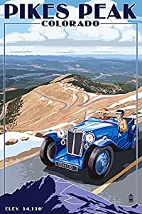 Pikes Peak, Colorado - Auto Road Scene (24x36 Giclee Gallery Print, Wall Decor Travel Poster)