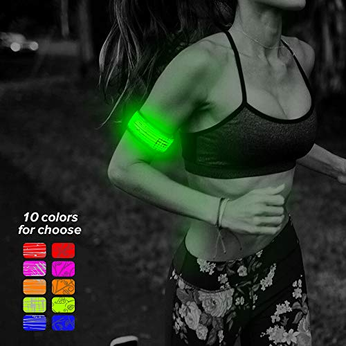 Higo LED Armband, Water Resistant Heat Sealed LED Slap Bracelet Glowing Light Up Sports Wristband with Reflecive Printing, for Runners(Green-Design Ⅲ) (Best Color Mode For Printing)