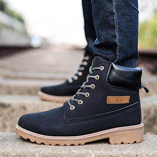 Herren Stiefel,Kingko® Herren Warm gefüttert flache Schuhe Winter Casual Snow Ankle Boots Schuhe (Kleiner als sonst) Schwarz