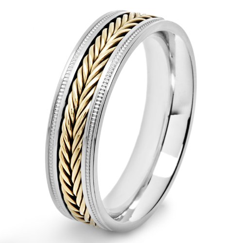 West Coast Jewelry   Crucible Stainless Steel Two-Tone Fish Braid Inlay Milgrain Ring - Size 9 ()