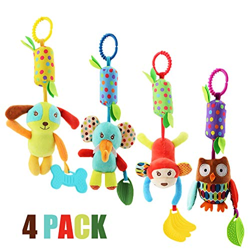 Baby Rattle Toys, Soft Hanging Rattle, Crinkle Squeaky Toy, Infant Stroller Car Seat Crib Travel Activity Plush Animal Wind Chime with Teether for Boys Girls by Sportsvoutdoors ()